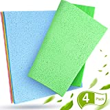 Boao 4 Stücke Schwamm Waschstoff Saugfähiges Geschirrtuch Wiederverwendbare Küchenreinigungstücher Reinigung Geschirrtuch Schwammtuch für Haus Auto Täglicher Gebrauch, 4 Farben
