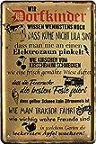 Dorfkinder wissen noch, DASS Kühe Nicht lila sind 20x30 Spruch Blechschild 720