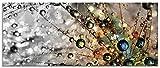 Artland Glasbilder Wandbild Glas Bild einteilig 125x50 cm Querformat Natur Botanik Blumen Pusteblume Frühling Wassertropfen Modern T9IN