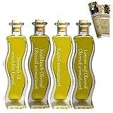 Geschenkset & Probierset | 4 x 100ml Öl | Steinpilz Öl - Olivenöl Limone - Knoblauch-Kräuter Öl - Pasta Öl | mit Rezeptbroschüre