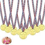 Gold Medaillen,Febbya 30 Pack Kunststoff Kinder Medaille Mini Olympics Goldmedaillen mit Schlüsselband für Kindergeburtstag Party Spiele Prizzes Wettbewerb Awards 4CM