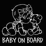 EROSPA Auto-Aufkleber KFZ - Baby On Board - Mädchen mit Teddy - Car-Sticker (Silber)