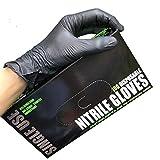 Vommpe 100 stück Einweghandschuhe Nitril Handschuhe Geeignet für den Täglichen Gebrauch Industrie (Schwarz,L)
