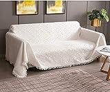 Rose Home Fashion Mehrzweck Sofabezug Sofaüberwurf aus Baumwolle 300 x 180cm, Couch Überzug, Bettüberwurf Tagesdecke Sofa Überzug für 3 Sitzer, M, Crème