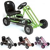Hauck Lightning Go-Kart - Kinderfahrzeug, Reifen mit Gummiprofil, Handbremse für beide Hinterräder, 3-fach verstellbarer Schalensitz