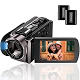 Camcorder Videokamera Full HD 1080P 24MP, Rokurokuroku Vlogging Kamera für YouTube 16X Digitalzoom 3.0 Zoll LCD 270 Grad Drehbildschirm mit 2 Batterien