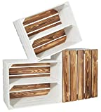 CHICCIE 3 Set Holzkiste Grete Weiß Geflammt - Langes Regal Obstkiste Dekokiste Weinkiste Ablage 50x40x30cm Gehobelt