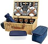 HappyPicnic Deluxe Weiden Picknickkorb mit Decke und Besteck für 4 Personen, Picknickkoffer mit Speisenkühler, Weinkühler,und 2 Speisenbehälter