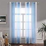 MIULEE Voile Vorhang Transparente Gardine aus Voile mit Ösen Schlaufenschal Ösenschals Transparent Fensterschal Wohnzimmer Schlafzimmer 2er Set 140x145 cm Weiß + Hellblau