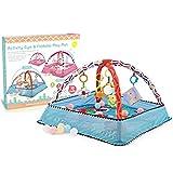 Dittzz Baby Krabbeldecke mit Spielbogen, Spieldecke Spielmatte Activity Gym Erlebnisdecke mit Spielzeug,ab Geburt,Maße: Ø80cm