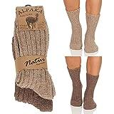 Alpaka Herren Damen Socken, extra warme Winterstrümpfe, Wollsocken Wintersocken Natur 17 (43-46, Hellbraun/Dunkelbraun)