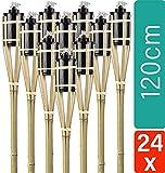 STAR - LINE 24 Gartenfackeln aus Bambus Holz mit Docht - Lange Brenndauer - Nachfüllbar - 120 cm -