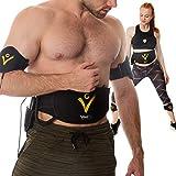 VEOFIT Bauchmuskeln Gürtel EMS Bauchtrainer zum Abnehmen festigt, stärkt und strafft der Bauch, Rücken, Arme, Oberschenkel, Waden- mit Fitness und Ernährungshandbuch und Transport Tasche