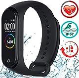 Smartwatch mit Pulsmesser Fitness Armband Armbanduhr Sportuhr mit Schrittzähler Kalorienzähler Kamera-Fernbedienung Kompatibel mit Android, iOS und Bluetooth 4.0
