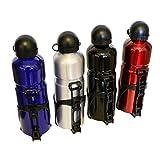 all-around24 Alu Trinkflasche Schwarz mit Fahrradhalterung Sport Wasserflasche - 750ml Sportflasche Trinköffnung Zug und Druckverschluss