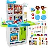 deAO 'My Little Chef' Küchen Spielset mit Klängen, Touchscreen-Panel und Wasserspiele - Mehr als 40 Zubehör Enthalten (Blau)