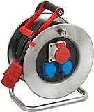 Brennenstuhl Garant S CEE 1 IP44 Kabeltrommel, 25m - Stahlblech (Einsatz im Außenbereich) - MADE IN GERMANY - silber