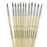 trendmarkt24 Haarpinsel Sortiment 12 Stück Schulpinsel Nr. 6 Set Ponyhaar Malpinsel zum Malen mit Wasserfarben Ölfarben Acrylfarben Schulfarben Schulpinselset Aquarellpinsel | 98306-A