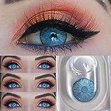 Hochdeckende Kontaktlinsenfarbe, Kontaktlinse Behälter 2 Paar (4 Stück) I DIA 14,20 I Keine Dicke I 0,00 Dioptrien - Monatslinsen (NEW YORK BLUE)