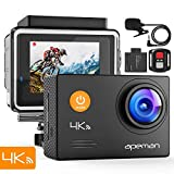 APEMAN Action Cam A79, 4K WiFi 16MP Unterwasserkamera Digitale wasserdichte 40M Helmkamera (2.4G Fernbedienung und externes Mikrofon)