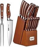 DEIK Messerblock Set | Messerset | 16-TLG Messer mit Holzgriff | Edelstahl Kochmesser Set mit Holzblock | Profi Küchenmesser mit Wetzstahl