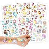 Papierdrachen 113 Tattoos zum Aufkleben - Hautfreundliche Kindertattoos Meerjungfrau - kindgerechte Designs - als Geburtstagsmitgebsel oder Geschenkidee - vegan