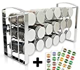 LEANDER DESIGN Gewürzregal für Küchenschrank und Arbeitsfläche, 18 Gewürzgläser, Inkl 54 Etiketten, Küchen-Organizer auf 3 Ebenen – silber