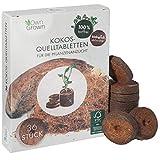 OwnGrown Kokos Quelltabletten mit Nährstoffen – 36 Stück, Kokoserde gepresst zur Pflanzen Anzucht ohne Pikieren, torffrei – Anzucht Erde Kokos