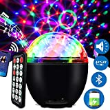 LED Discokugel 16 Beleuchtungsform Musikgesteuert Discolicht Lichteffekte mit USB Kabel und Batterie Disco Partylicht für Halloween Weihnachten Kinder Disco DJ Party Geburtstag Dekoration (Schwarz)