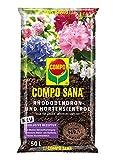 COMPO SANA Rhododendron- und Hortensienerde mit 8 Wochen Dünger für alle Azaleen, Eriken, Kamelien und Hortensien, Kultursubstrat, 50 Liter, Braun
