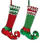 Valery Madelyn Weihnachtsstrumpfe 46cm 2er Set Stoff Nikolausstiefel Weihnachtsdeko Weihnachtssocken zum Befüllen und Aufhängen für Kamin Klassische Serie Thema Rot Grün Weiß MEHRWEG Verpackung