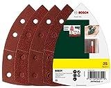Bosch 25tlg. Schleifblatt Set (verschiedene Materialien, Körnung 40/80/120/180, 11 Löcher, Zubehör Multischleifer)