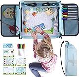 Peradix Malsets für Kinder Auto-Kindertisch Reisetisch Knietablett mit 6 Marker Stifte, Tragbare löschbar Graffiti-Zeichenbrett mit 5 Zeichenpapier, Malen und Zeichnen zu Haus