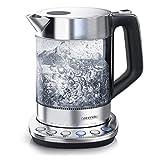 Arendo - Glas Wasserkocher mit Temperatureinstellung - Warmhaltefunktion 30min - 1,5 Liter Füllmenge - Borosilikatglas - Basisstation aus Edelstahl - Modernes Design
