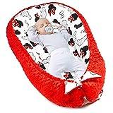Warmes Nestchen Baby - Kuschelnest Neugeborene Baby Nestchen Bett Winter / Herbst Kokon Babynest (Rot Minky mit weiß-rotem Maus Motiv, 90 x 50 cm)