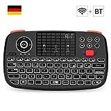 Rii i4 Mini Tastatur Wireless (Bluetooth 4.0 + 2.4G Wireless), Multimedia Tastatur mit Touchpad Maus, Mini Wireless Keyboard with Scrollrad und LED Hinterleuchtet (Deutsches Layout, schwarz)