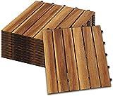 Hengda Holzfliesen 55-er Kachel Set,5m², geeignet als Terrassenfliesen und Balkonfliesen, aus Akazien Holz, 30x30 cm, für Garten Terrasse Balkon