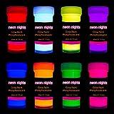 neon nights Nachleuchtende Neon Farben   Phosphoreszierende Farbe für Glow Effekt im Dunkeln   8 x 20ml Leuchtfarben Paint Set