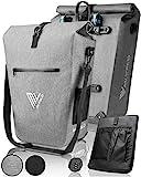 MIVELO Fahrradtasche Gepäckträgertasche wasserdicht 100% PVC frei + Laptopfach + Schloss + Schultergurt – Fahrrad Tasche für Gepäckträger 1 STK grau