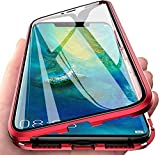 Kompatibel Hülle iPhone 12 Mini Magnetische Adsorption Handyhülle Metallrahmen Transparent Vorne und Hinten Gehärtetem Glas Schutzhülle 360 Grad Stoßfest Cover Case - Rot