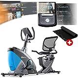 Hop-Sport Liegeergometer HS-070L mit Unterlegmatte - Liegeheimtrainer mit Bluetooth & App-Steuerung, 12 Trainingsprogramme, 16 Widerstandsstufen – Sitzergometer max. Nutzergewicht 150 kg blau