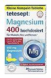 tetesept Magnesium 400 – Nahrungsergänzungsmittel für Muskeln, Herz und Nerven – Aufgrund der geringen Tabletten-Größe besonders leicht schluckbar – 1 x 30 Kompakt-Tabletten