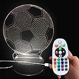 DONJON LEDNachtlicht, LED fussball Lampe mit Wireless Fernbedienung 16 Farben für Kinder Familie Ferienhaus Dekoration (Geburtstagsgeschenke, Weihnachtsgeschenke, usw.)(fussball Lampe)