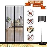 SODKK Magnet Fliegengitter Tür Insektenschutz, Anti-Mosquito Insekt Hände frei, AutomatischesSchließen, für Flure/Türen - Schwarz 90x210cm