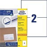 AVERY Zweckform 3655 Universal Etiketten (200 Klebeetiketten, 210x148mm auf A4, bedruckbare Versandetiketten, selbstklebende Versandaufkleber mit ultragrip, DHL) 100 Blatt, weiß