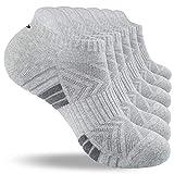 Lapulas Sneaker Socken Herren 43-46 39-42 35-38 47-50 Damen, 6 Paar Sportsocken Baumwolle Laufsocken mit Frotteesohle Freizeit Atmungsaktiv Antirutsch Bequemere Training Socken (Hellgrau, L: 43-46)