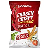 Bio Protein Erbsen Crispy Light Gemüse-Chips Sweet Chili Paprika Gemüse-Sticks Flips Knuspererbsen 6x 100g ohne Fett eiweißreich vegan glutenfrei laktosefrei naturell fettarm Rohkost roh kalorienarm