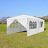 wolketon Pavillons 3x6m Partyzelt Gartenpavillon mit 6 Seitenwänden 100G PE Weiß Gartenzelt für Garten/Party/Hochzeit/Picknick/Markt