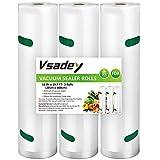 Vakuumrollen, 3 Rollen 28cm x 600cm Profi-Folienrollen Vakuumierbeutel für alle Vakuumierer, Mikrowellen geeignet and Sous-Vide - Wiederverwendbar, BPA-Frei und FDA-Approved