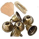 Awtlife 50 Stück Vintage Glöckchen Bronze Ton Glocken mit Kartenanhänger für Windspiele Basteln Deko Weihnachten Hochzeit 38 mm